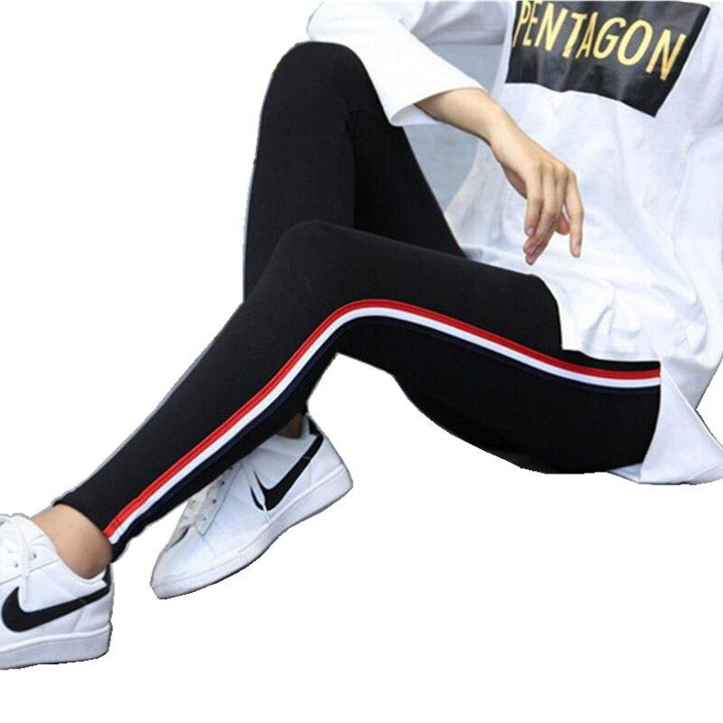 DOUBCHOW Cotton Womens Elastic Waist Skinny Lengging Pants 2018 Ladies Maiden Striped Ankle Length Legging Femme Plus Size 5XL