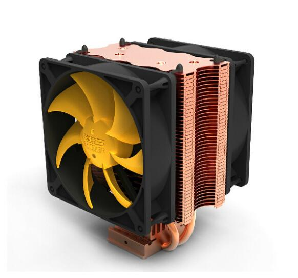 dual-fan 2 heatpipe, for Intel LGA775/1150/1155/1156/1366, for AMD754/939/AM2+/AM3/FM2 CPU cooling, CPU cooler, PcCooler S90D three cpu cooler fan 4 copper pipe cooling fan red led aluminum heatsink for intel lga775 1156 1155 amd am2 am2 am3 ed