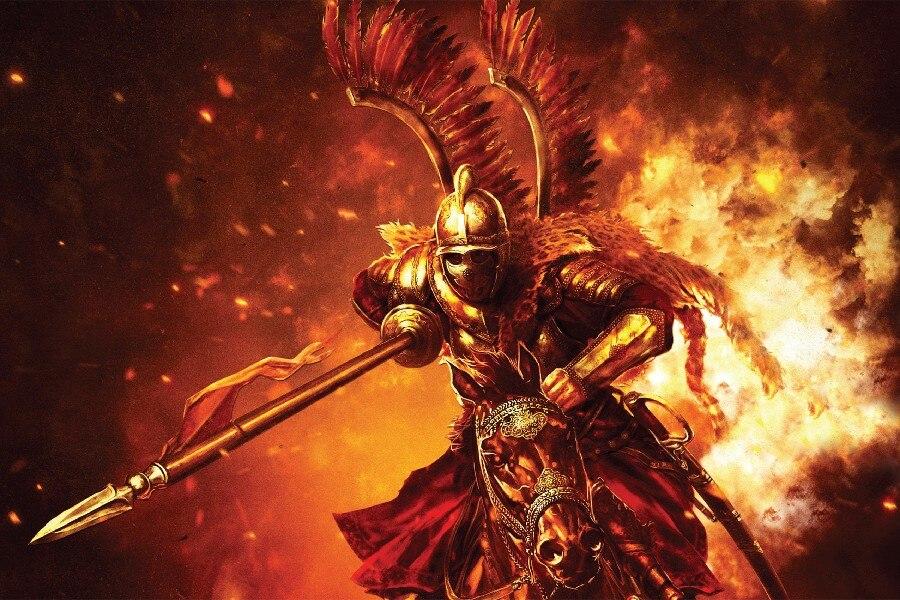 Il Walhalla MONTAGGIO-E-la-LAMA-font-b-fantasy-b-font-guerriero-armatura-cavaliere-cavallo-fuoco-poster-di