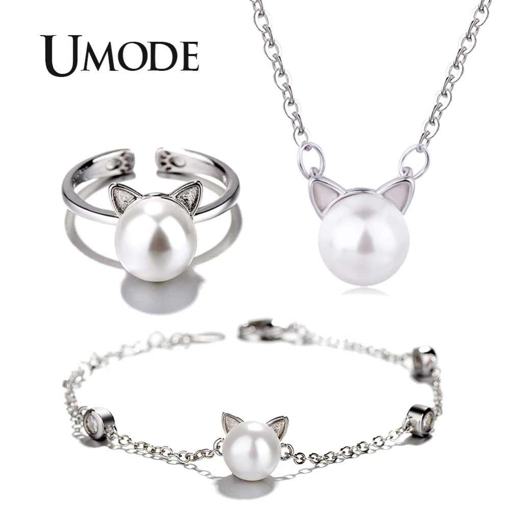 UMODE Brand Korean Cute Cat Ear Pearl Adjustable Rings Chain Necklaces Bracelets Jewelry Sets for Kids Girls US0055