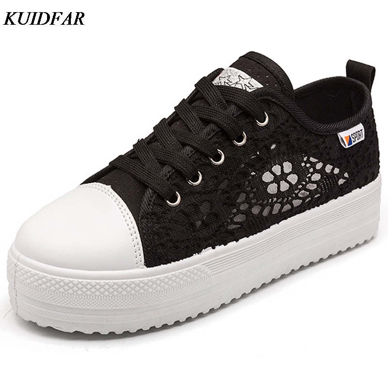 KUIDFAR 2018 Summer Women Shoes Casual Cutouts Lace Canvas Shoes Hollow Floral Breathable Platform Flat Shoe summer women shoes casual cutouts lace canvas shoes hollow floral breathable platform flat shoe sapato feminino lace sandals page 3