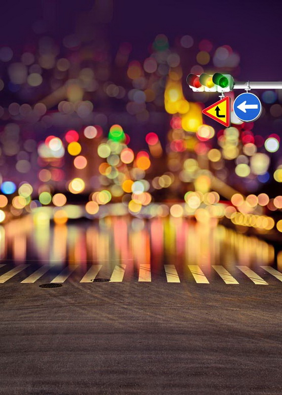 Custom traffic light bokeh vinyl cloth print photographic backgrounds for wedding portrait photography photo studio props S-690