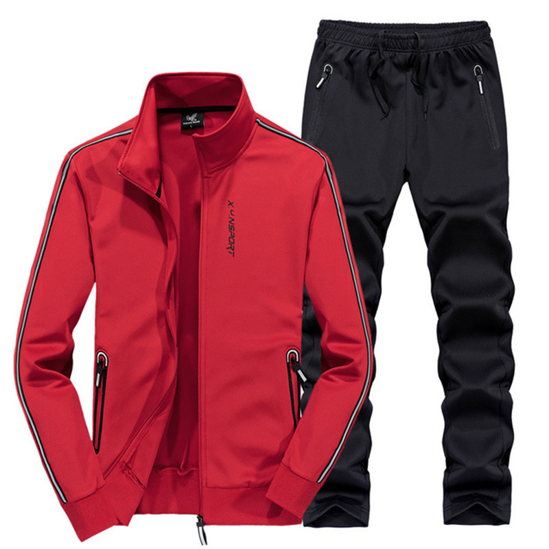 AmberHeard 2019 Fashion Spring Autumn Men Sporting Suit Jacket+Pant Sportswear Two Piece Set Tracksuit For Men Clothes Plus Size