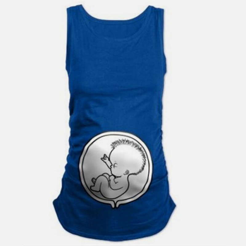 Godier Pregnant Women Costume Summer Funny Pregnancy Cotton Vest Shirts Casual Sleeveless Tees Tops Plus Size Maternity Clothes