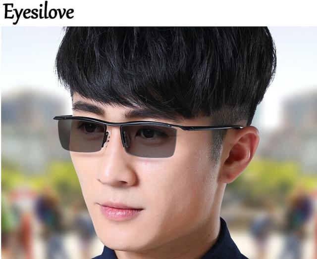 ba409e135e587 Eyesilove men s Ultra-light myopia photochromic glasses titanium myopia  Glasses Sensitive Lenses Transition Lenses -0.0 to -6.00