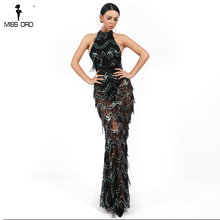 Missord 2018 Sexy High Neck Off Shoulder Tassel Sequin Sleeveless Backless  Dresses See Through Party Dress Vestdios FT18809 32e3f1ccd5a0