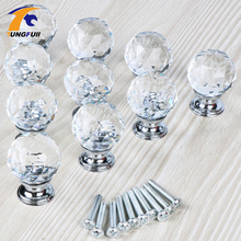 Fast Shipping 30mm Shining Crystal Diamond Ball Glass Drawer Handles Kitchen Armario Dresser Knobs Closet Decoration+Screws(China)