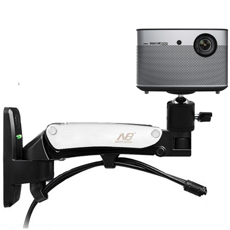 DL-F12PR, 2-7 кг, универсальная газовая пружина, газовая стойка, наклонный кронштейн для проектора, Потолочная стойка, алюминиевый сплав, поворот на 360 градусов - Цвет: silver