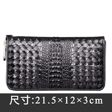Crocodile Embossed Alligator Style NEW Patent Genuine Cow Leather Checkbook Mens Long Wallet Money Holder Designer