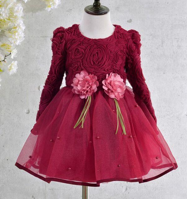 Venta al por menor-Envío Libre Nueva Moda de Otoño de la Muchacha de La Perla del Cordón Del vestido Del Bebé Vestido de Las Muchachas vestidos de Los Niños del desgaste de Los Niños ropa de los cabritos