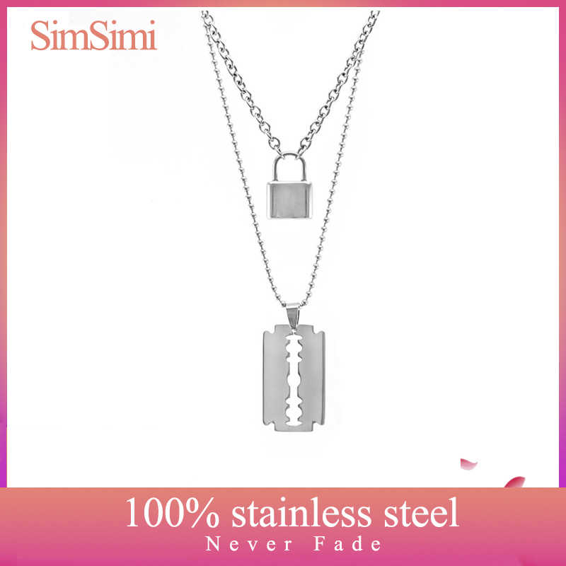 Stainless Steel Double Layer PadLock Necklace Lock Blade Cross Star Guitar Map Pendant Chain Necklaces Fashion Women Jewelry