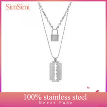 Stainless Steel Double Layer PadLock Necklace Lock Blade Cross Star Guitar Map Pendant Chain Necklaces Fashion Women Jewelry(China)
