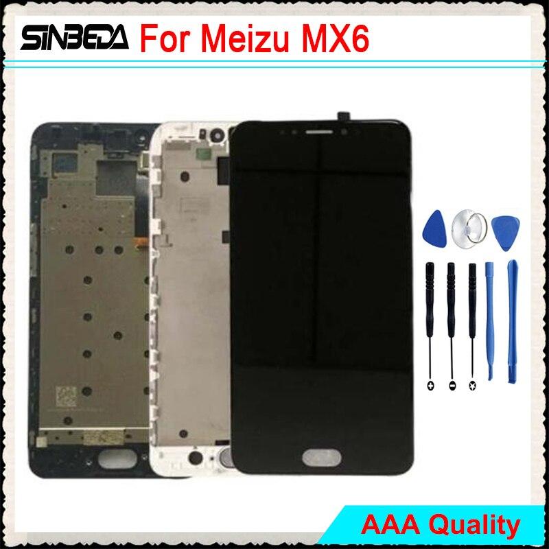 Sinbeda 5.5 Brand New LCD Pantalla Pour Meizu MX6 LCD Affichage à L'écran Tactile Digitizer Assemblée + Cadre Noir De Remplacement /blanc