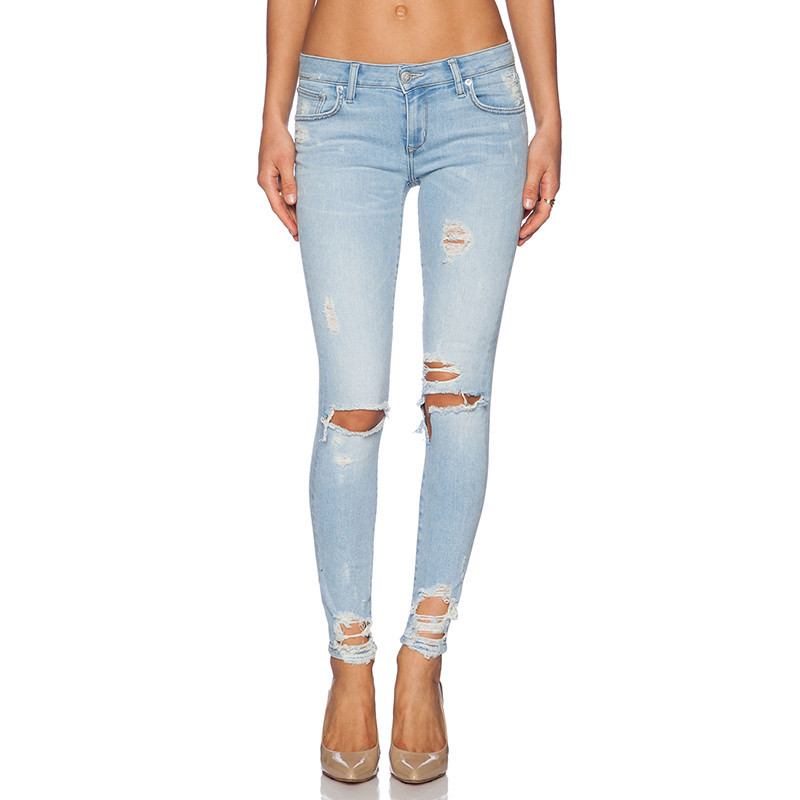 Ripped Hole Hollow Out Skinny Pants Plus Size Cut Out Denim ...