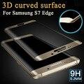 Curvo de cristal templado de cine para samsung galaxy s7 edge 3d superficie de cristal protector de pantalla para galaxy s7 g9300 de cobertura total cubierta