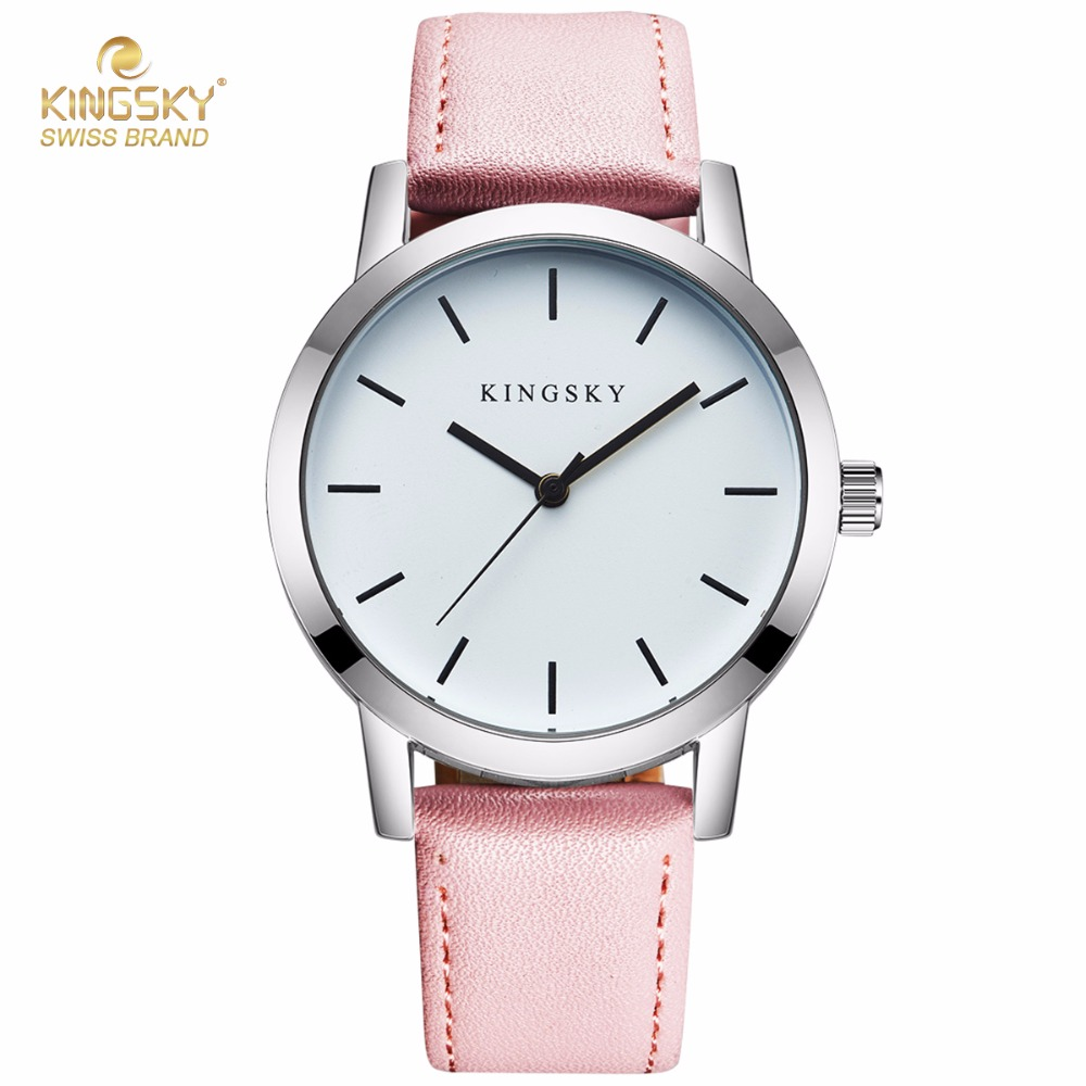 Relogio Feminino KINGSKY Women Watches Luxury Top Brand Fashion Casual Business Watch Men Clock Leather Simple Quartz Watch luxury men s women quartz watch business watch men women watch