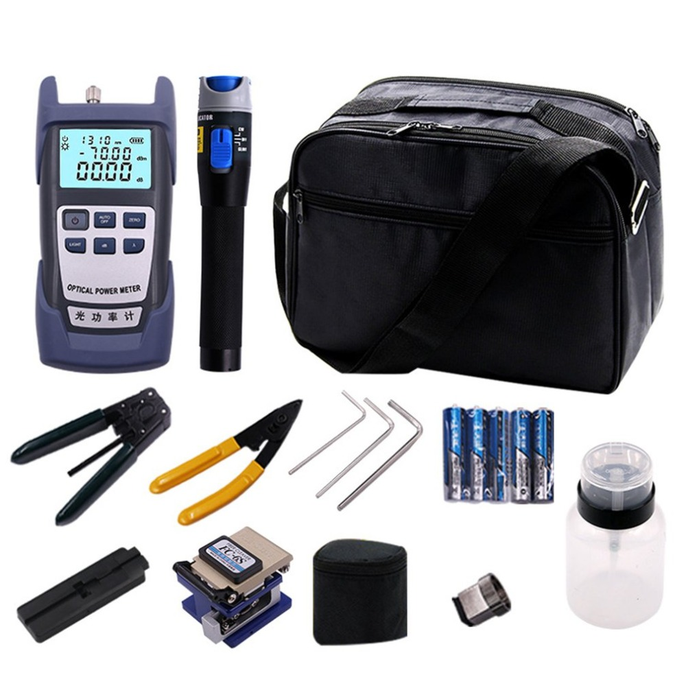Visual Fault Locator Wire Stripper Fiber Optic Networking Tool Kit With Fiber Cleaver And Optical Power Meter