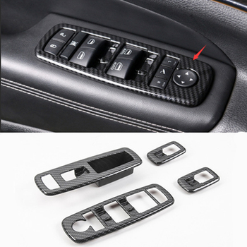 Window Switch Panel Cover Trim ABS Chrome/Carbon Fiber Trim Covers Voor Jeep Grand Cherokee 2010-2018 Auto styling Accessoires