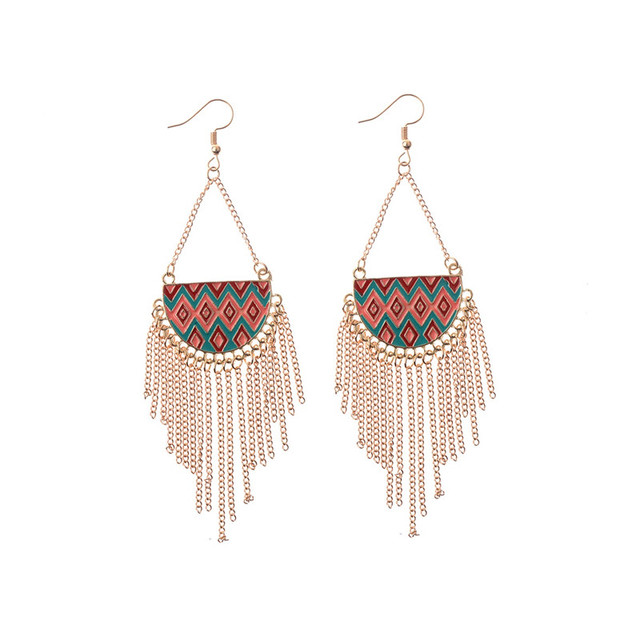 Available Colorful Oil Painting Long Alloy Chain Tels Simple New 2017 Latest Fashion Earring Designs For