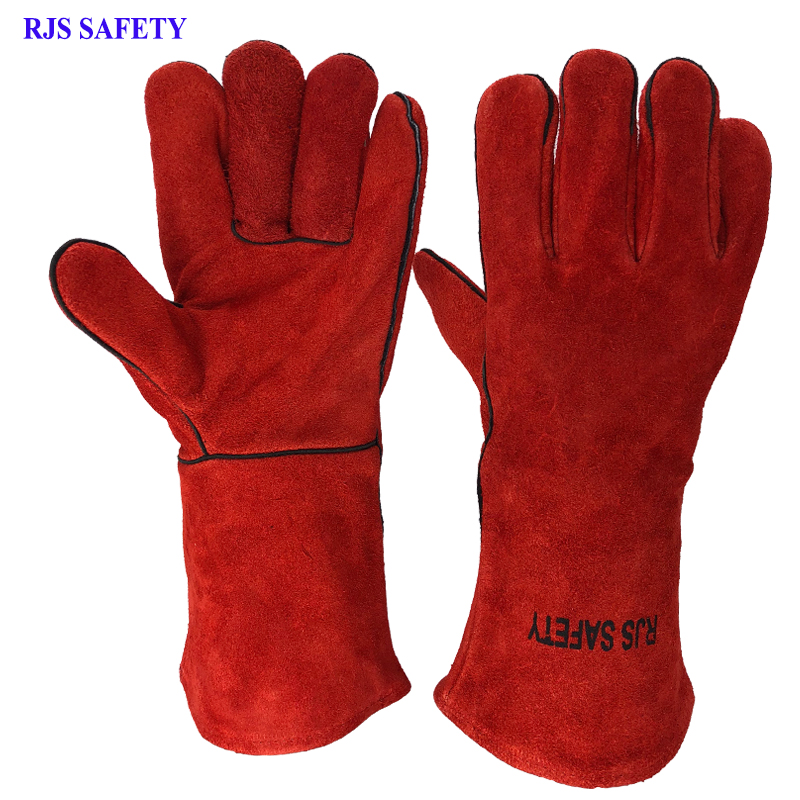 RJS NEW Welding Gloves Cowhide Electric Leather Welding Protective Gloves Fire High Temperature Protection Workplace Safety 8001 safurance anti cuttingextended wearable welding gloves industrial leather protective glove workplace safety fire retardant