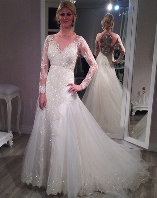 Lace Langarm moslemisches Hochzeitskleid China arabische Braut ...