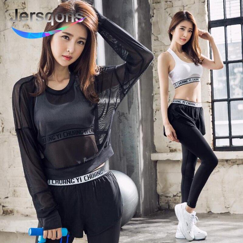 Jersqons 3 pièces femmes Yoga ensembles Fitness Sport soutien-gorge + chemise + Yoga pantalon Leggings ensemble Gym course Sport costume vêtements d'entraînement