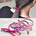 Popular hair band Nylon production Fashion bowknot  elastic hair bands metal small ball jewelry