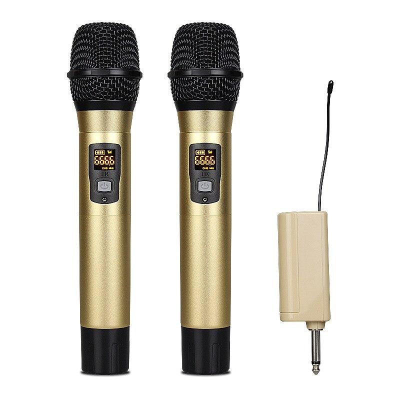 Système de Microphone sans fil de karaoké UHF chaud chaud avec récepteur Rechargeable USB Portable 1 4 ''canaux UHF de sortie