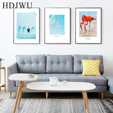 Northern Europe Art Home Decor Canvas Painting Wall Picture Flamingo Printing Posters Pictures for Living Room  DJ41