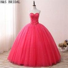 H& S свадебные красные Бальные платья Сладкие 15 золотые платья для выпускного со стразами тюлевые бальные Платья vestidos de festa