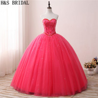 H&S BRIDAL Red Ball Gown Quinceanera Dresses sweet 15 Gold Crystal Prom Dresses Tulle quinceanera gowns vestidos de festa