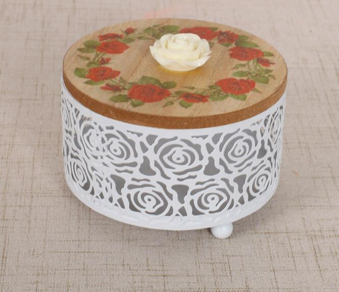 1PC Round Hollow Solid Metal Wood Storage Box Confectionery Home Decoration Cosmetic Storage Container NM 011