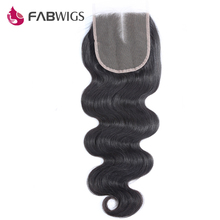 Fabwigs Peruvian Body Wave Lace Closure Bleached Knots 5x5 Human Hair Closures with Baby Hair Remy