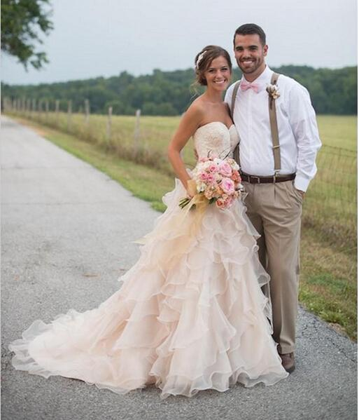 2016 Blush Pink Ruffles Wedding Dresses Country Style Lace ...