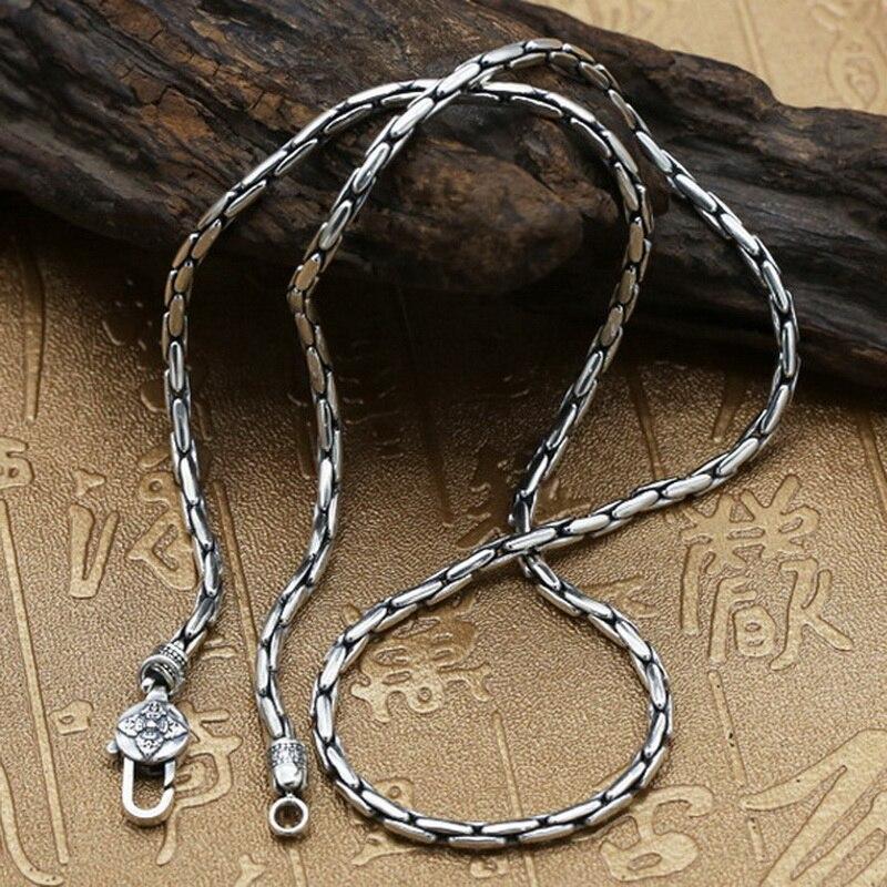 Pur solide en argent Sterling 925 Simple collier ras du cou hommes poli lien chaîne collier Vintage Thai argent hommes bijoux boîte gratuite