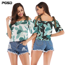 PGSD New Summer Fashion Holiday women clothes boat neck strapless Tie sling beach Plants Printing chiffon shirt Pullover female fashionable boat neck tie chiffon blouse for women