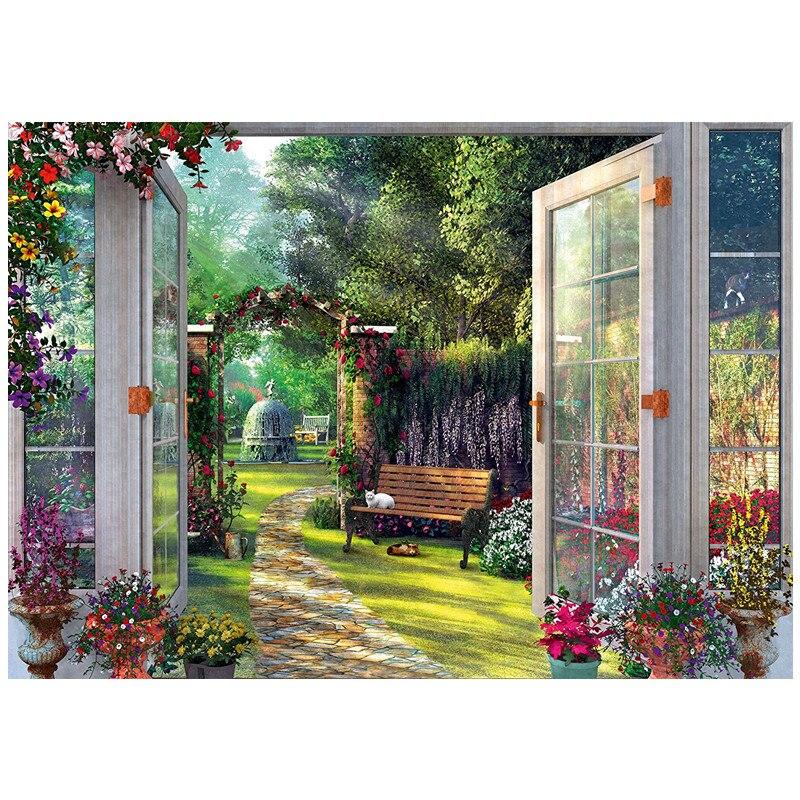 هادئة حديقة مشهد للتطريز تطريز 14CT عد غير مطبوع DMC DIY عبر عدة خياطة اليدوية الفن جدار ديكور-في حزمة من المنزل والحديقة على  مجموعة 1