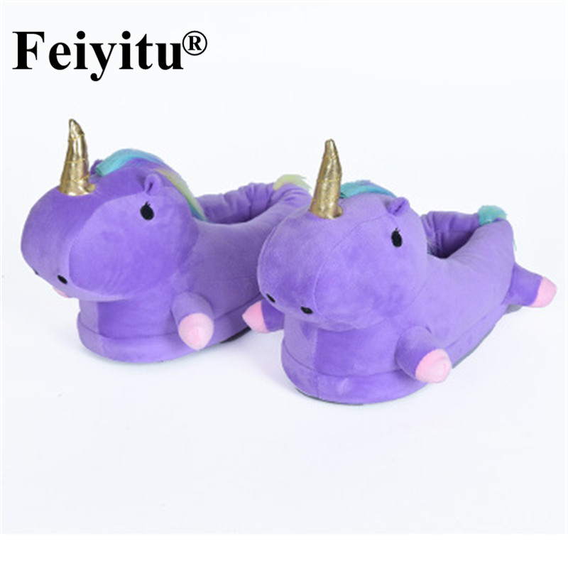 цены Unicorn Warm Slippers Women Funny Pantufa Unicornio Chausson Licorne Home Shoes Female Plush Fur Mules Cute Cartoon White Purple