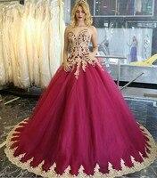 Пикантные аппликация золотого цвета Бисер фуксия пышное платье 2019 милое бальное платье 15 платье миди платья 15 лет платье