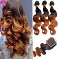 Ombre 8A Indian Virgin Hair 3 bundles with closure Body Wave Modern Hair Show Bundles And Closure meches bresilienne lots Blonde