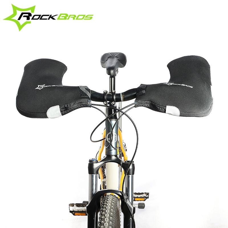 ROCKBROS Handlebar Bike <font><b>Gloves</b></font> Windproof Waterproof CYCLING <font><b>GLOVES</b></font> Warm Fleece MTB Mountain Road Bike Mitten Guantes Ciclismo