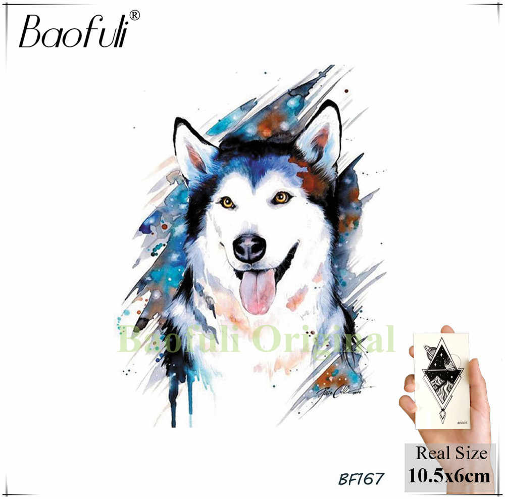 c582b42e9 ... Baofuli Husky Galaxy Watercolor Tattoos Wolf Fake Tatoos Feather Triabl  Moon Fox Temporary Totem Art Tattoo ...