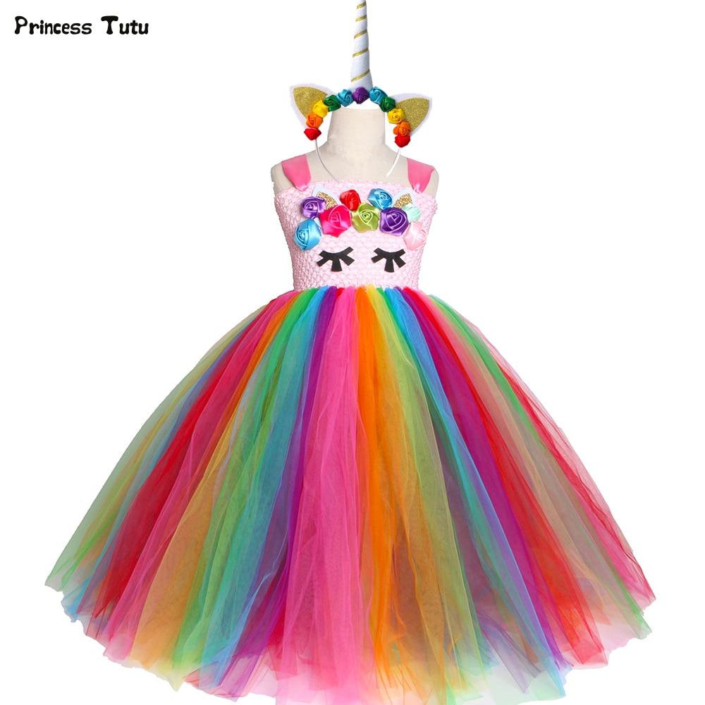 Bright Rainbow Unicorn Tutu Dress Princess Flower Girl Birthday Party Dresses Kids Girls Halloween Unicorn Costume Clothes 1-14Y цена