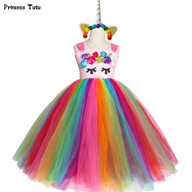 Bright Rainbow Unicorn Tutu Dress Princess Flower Girl