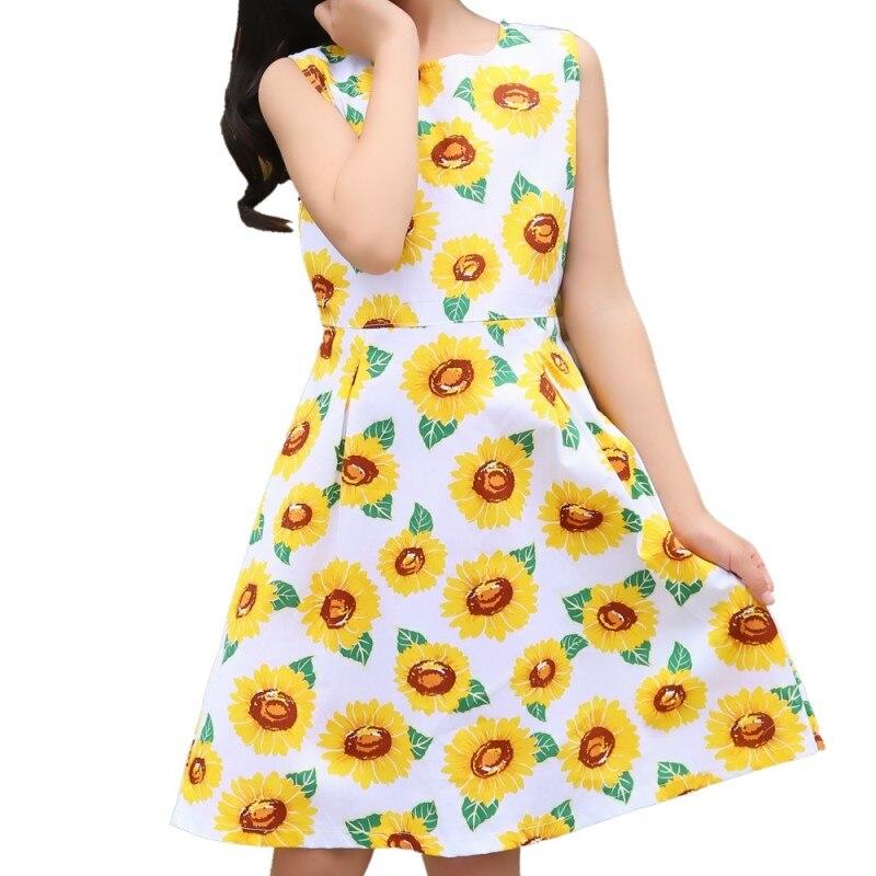 Nieuwe 2019 Europese stijl Baby Meisjes Zomer Katoen Mouwloos Bloemen - Kinderkleding