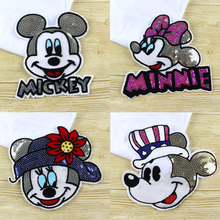 Sequins Mouse Iron on Patches for Clothes Jeans Big Motif Embroidery Applique Rat Mickey Sequined Patch Sewing DIY
