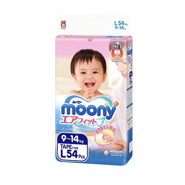 Подгузники MOONY , L (9-14 кг), 54 шт