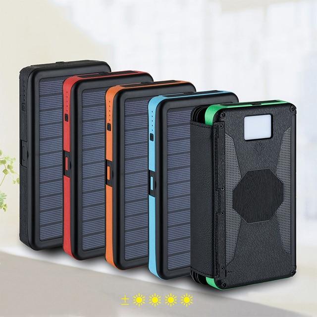 20000mAh LED Solar Power Bank Folding Foldable Portable Solar Panel Solar Charger External Battery Solar Powerbank For Phone 3