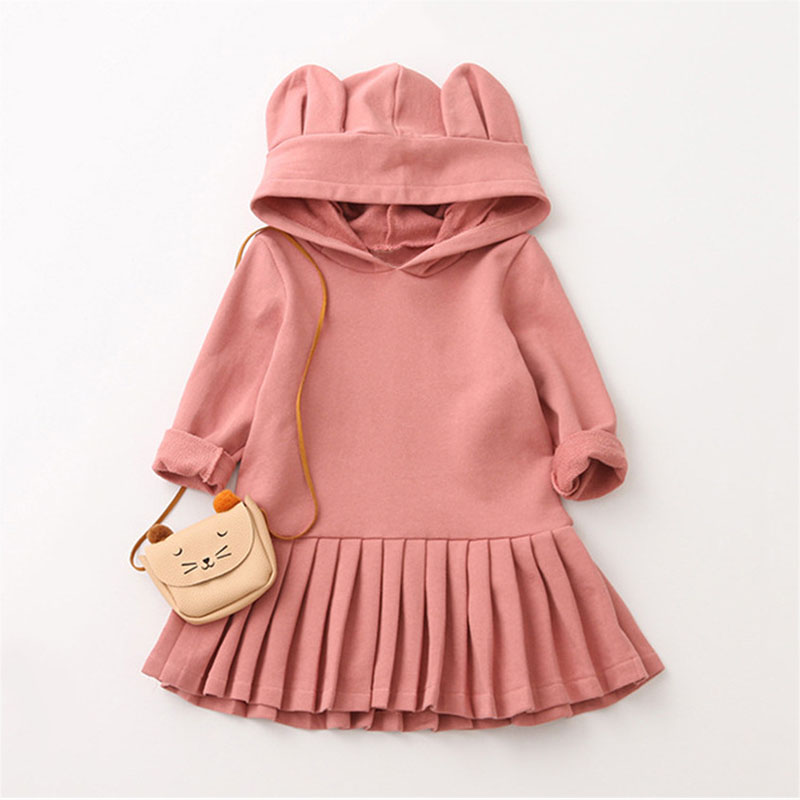 Girls Hooded Dress Big Rabbit Ears Pink Clothes Casual Dress for Girl Solid Color Fashion Cotton Girl Children Clothing
