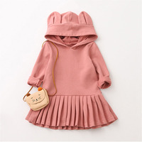 Girls Hooded Dress Big Rabbit Ears Pink Clothes Casual Dress For Girl Solid Color Fashion Cotton